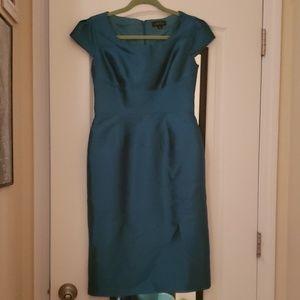 Tahari teal silk dress